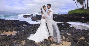 bride and groom at their makena cove wedding on Maui