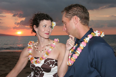renew vows in Hawaii Couple gaze into eyes
