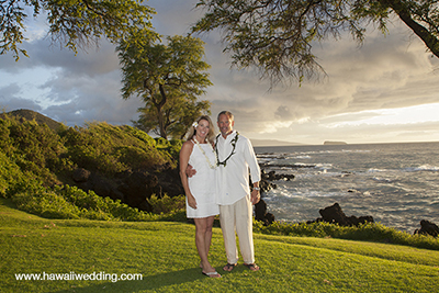 Grass area overlooking ocean for maui wedding