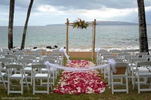 aisle of petals at maui ocean front lawn wedding