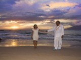 african american couple at their hawaiian vow renewal