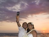 taking a selfie at their Hawaii Wedding