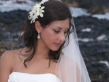 bride with orchid bouquet in Hawaii