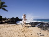 waves splash at Hawaii Wedding