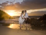 kissing at cove at wailea beach wedding