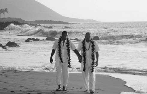 two gay men at their maui wedding