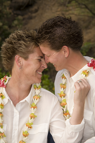 two women at their hawaii wedding