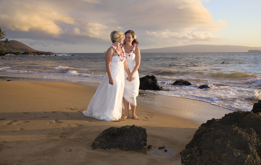 brides at their gay wedding in Hawaii