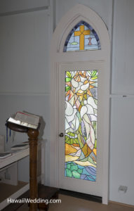 stained glass window at maui church wedding