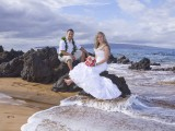 vow renewal on maui beach with lava rocks