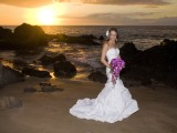 wedding photographer on maui captures bride at sunset