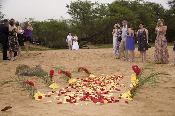 bride about to walk down tropical aisle of petals