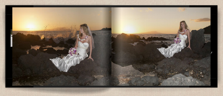 bride on rocks at maui wedding, photo album