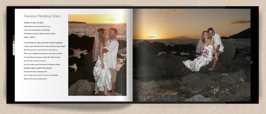 Hawaii sunset wedding featured in photo book