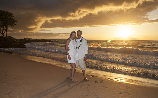 Sunset photo at vow renewal on Maluaka Beach, Makena