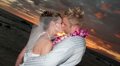 Laura and David chose Hawaii Wedding Package 3 for a sunset ceremony