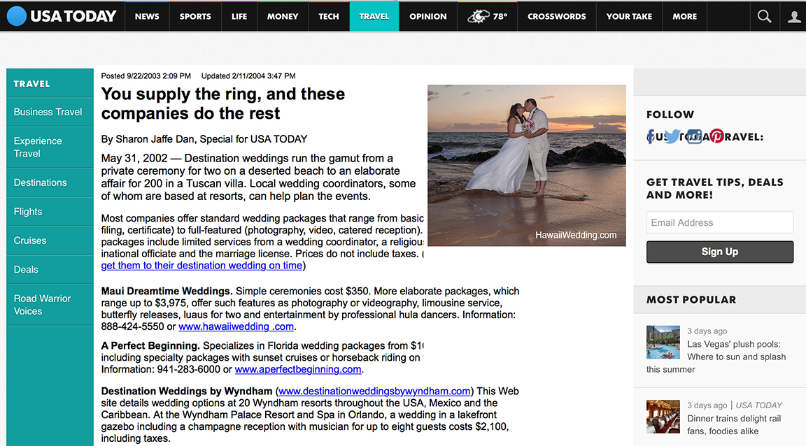 Hawaii Weddings featured in the news doing weddings on Maui