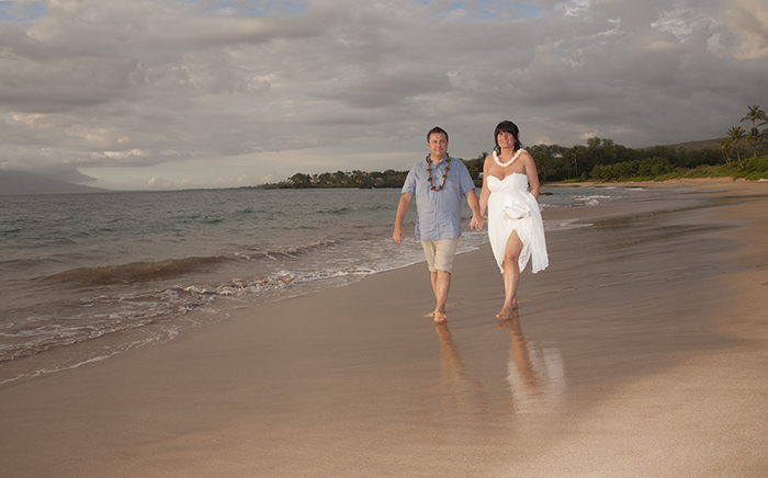 fantastic maui sunset weddings on Maluaka Beach, makena